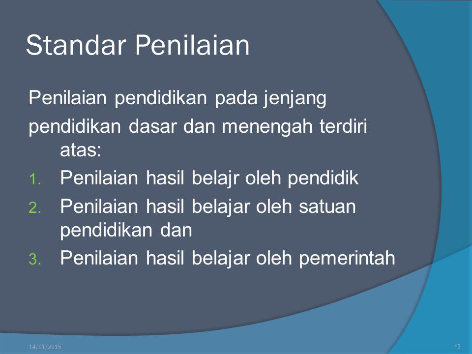 Standar Penilaian Penilaian pendidikan pada jenjang pendidikan dasar dan menengah terdiri atas: 1. Penilaian hasil belajr oleh pendidik 2. Penilaian h