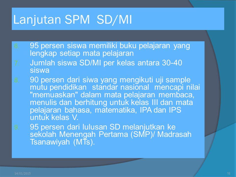 Lanjutan SPM SD/MI 6. 95 persen siswa memiliki buku pelajaran yang lengkap setiap mata pelajaran 7. Jumlah siswa SD/MI per kelas antara 30-40 siswa 8.