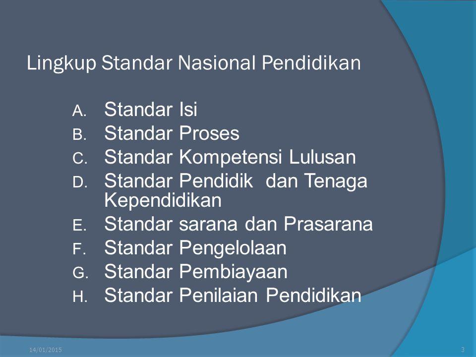 Lingkup Standar Nasional Pendidikan A. Standar Isi B. Standar Proses C. Standar Kompetensi Lulusan D. Standar Pendidik dan Tenaga Kependidikan E. Stan