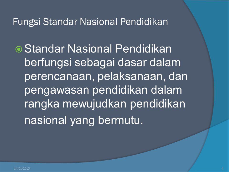 Fungsi Standar Nasional Pendidikan  Standar Nasional Pendidikan berfungsi sebagai dasar dalam perencanaan, pelaksanaan, dan pengawasan pendidikan dal