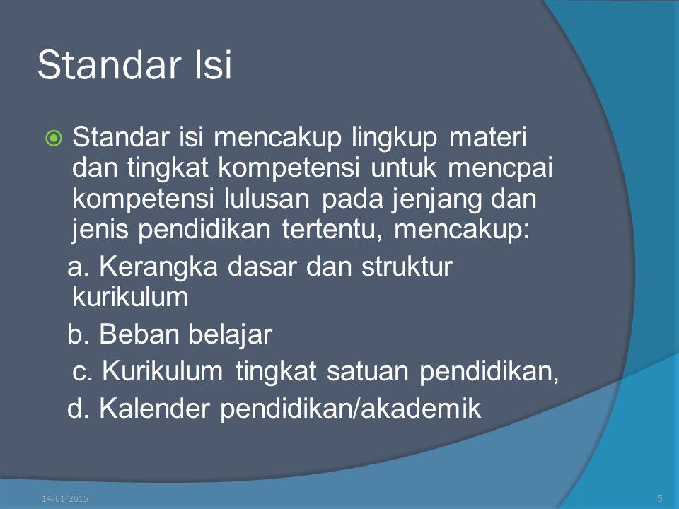 Standar Isi  Standar isi mencakup lingkup materi dan tingkat kompetensi untuk mencpai kompetensi lulusan pada jenjang dan jenis pendidikan tertentu,
