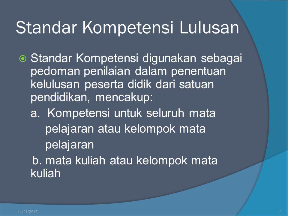 Standar Kompetensi Lulusan  Standar Kompetensi digunakan sebagai pedoman penilaian dalam penentuan kelulusan peserta didik dari satuan pendidikan, me