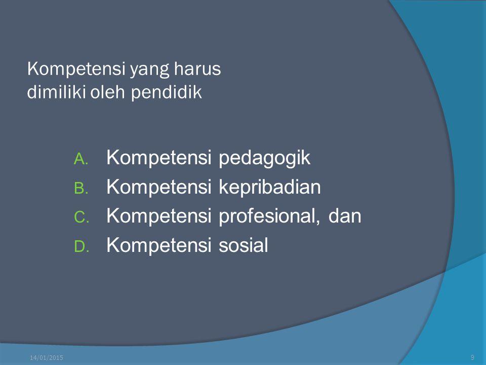 Kompetensi yang harus dimiliki oleh pendidik A. Kompetensi pedagogik B. Kompetensi kepribadian C. Kompetensi profesional, dan D. Kompetensi sosial 14/