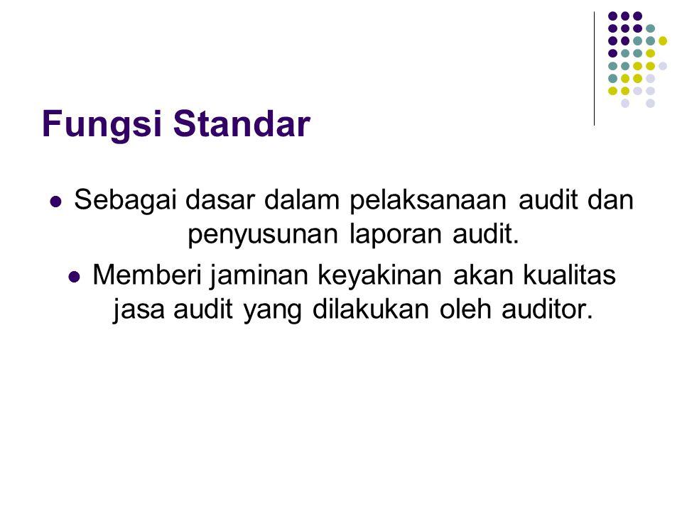 Fungsi Standar Sebagai dasar dalam pelaksanaan audit dan penyusunan laporan audit. Memberi jaminan keyakinan akan kualitas jasa audit yang dilakukan o