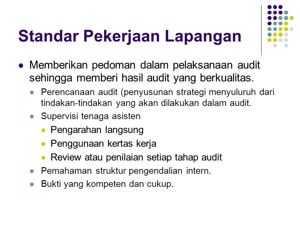 Standar Pekerjaan Lapangan Memberikan pedoman dalam pelaksanaan audit sehingga memberi hasil audit yang berkualitas. Perencanaan audit (penyusunan str