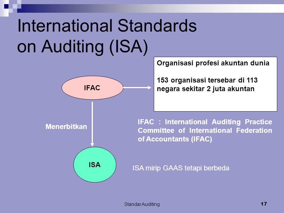 Standar Auditing16 Globalisas i Bisnis n pasar modal Globalisas i Accountin g standard n Auditing standard Usaha penyeragaman