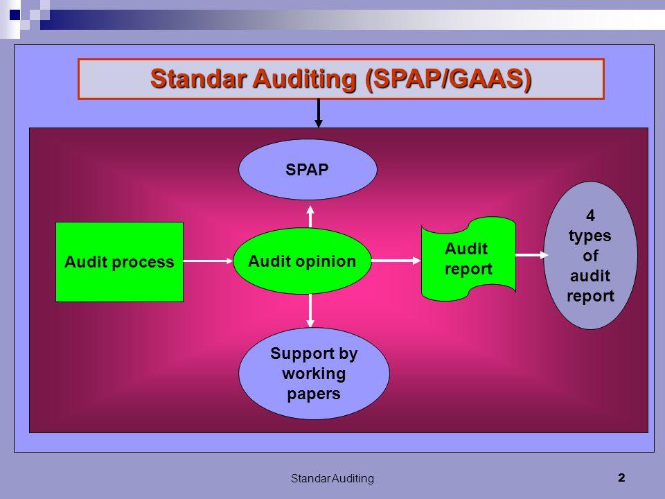 Standar Auditing12 Standar tersebut mengharuskan kami untuk merencanakan dan melaksanakan audit agar kami memperoleh keyakinan memadai bahwa laporan keuangan bebas dari salah saji material Kalimat kedua pada paragraf scope :