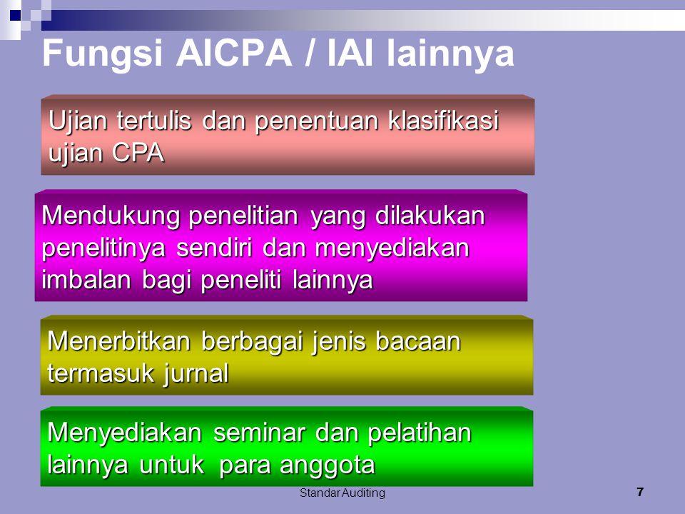 Standar Auditing7 Fungsi AICPA / IAI lainnya Mendukung penelitian yang dilakukan penelitinya sendiri dan menyediakan imbalan bagi peneliti lainnya Ujian tertulis dan penentuan klasifikasi ujian CPA Menyediakan seminar dan pelatihan lainnya untuk para anggota Menerbitkan berbagai jenis bacaan termasuk jurnal