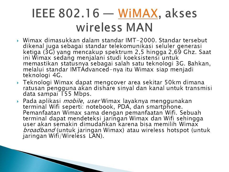  Wimax dimasukkan dalam standar IMT-2000.