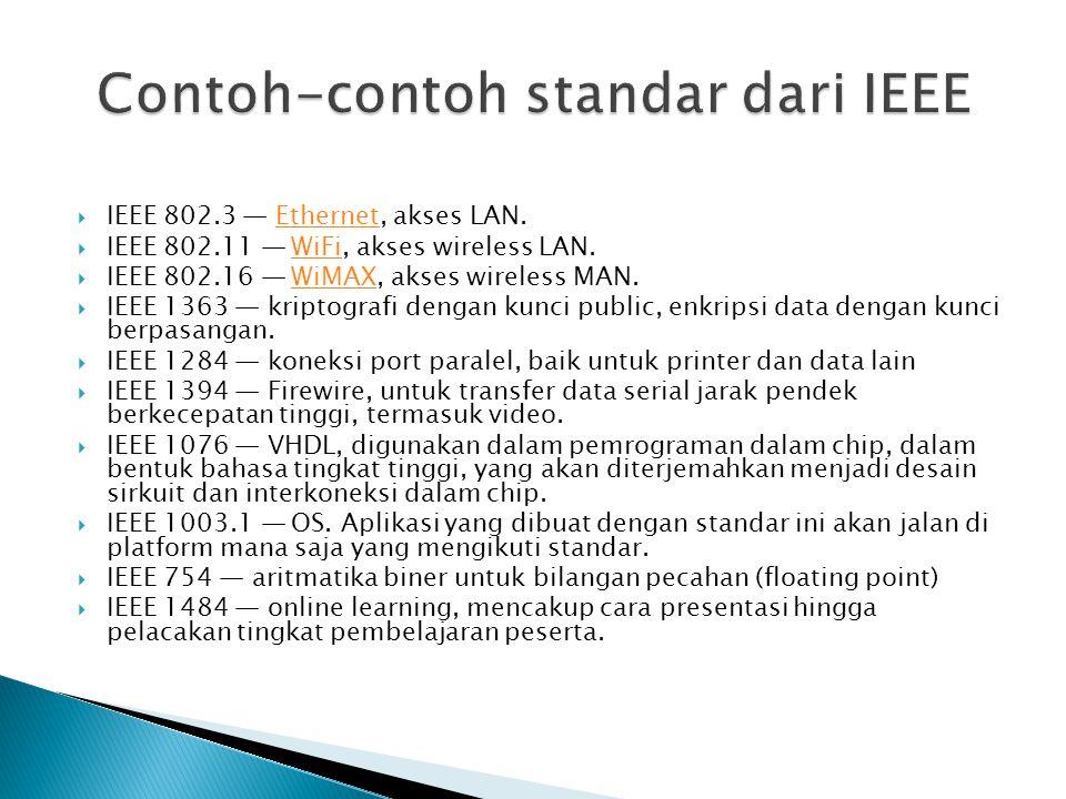  IEEE 802.3 — Ethernet, akses LAN.Ethernet  IEEE 802.11 — WiFi, akses wireless LAN.WiFi  IEEE 802.16 — WiMAX, akses wireless MAN.WiMAX  IEEE 1363 — kriptografi dengan kunci public, enkripsi data dengan kunci berpasangan.