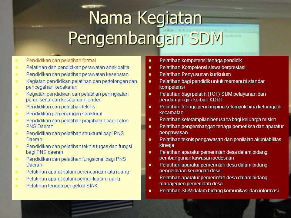 Nama Kegiatan Pengembangan SDM Pendidikan dan pelatihan formal Pelatihan dan pendidikan perawatan anak balita Pendidikan dan pelatihan perawatan keseh
