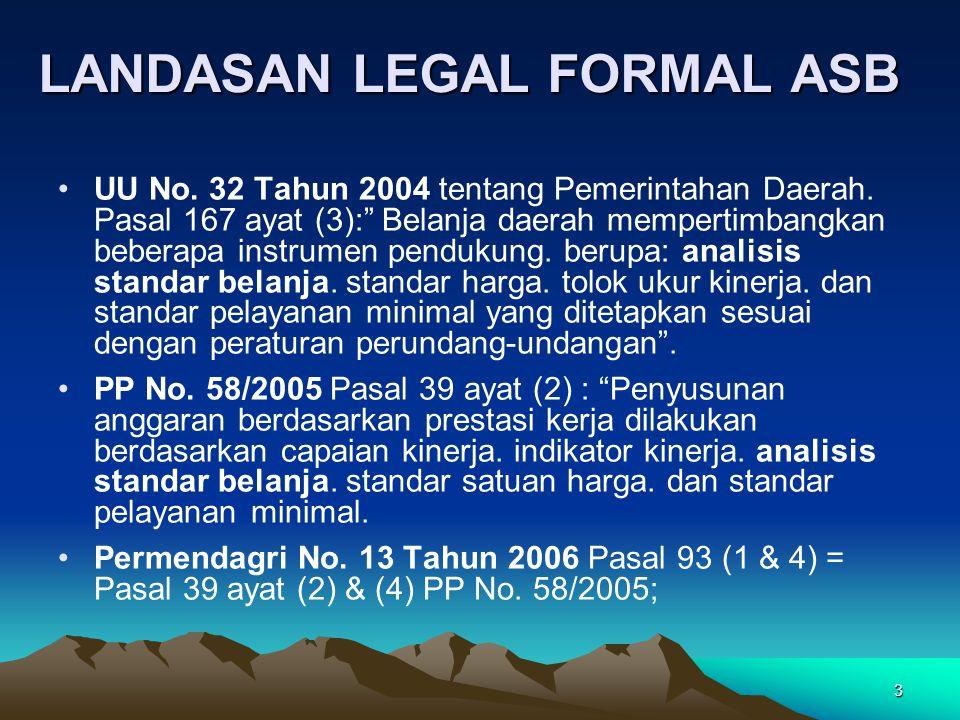 """3 LANDASAN LEGAL FORMAL ASB UU No. 32 Tahun 2004 tentang Pemerintahan Daerah. Pasal 167 ayat (3):"""" Belanja daerah mempertimbangkan beberapa instrumen"""