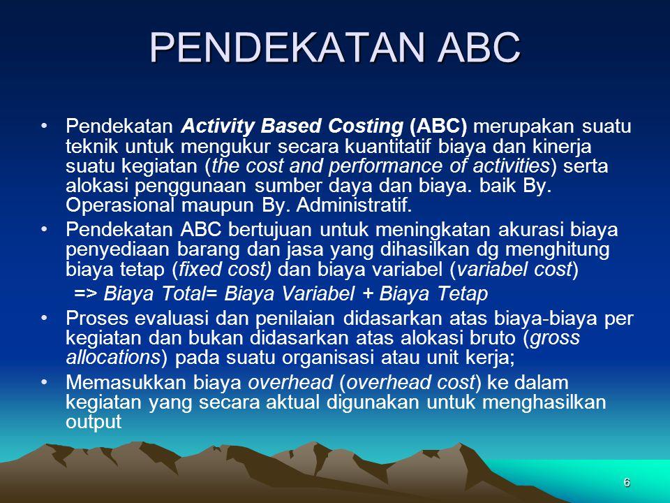 6 PENDEKATAN ABC Pendekatan Activity Based Costing (ABC) merupakan suatu teknik untuk mengukur secara kuantitatif biaya dan kinerja suatu kegiatan (th