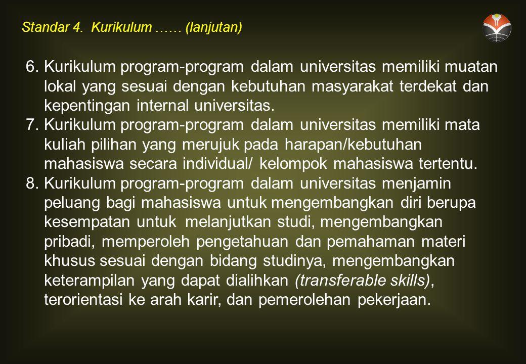 6.Kurikulum program-program dalam universitas memiliki muatan lokal yang sesuai dengan kebutuhan masyarakat terdekat dan kepentingan internal universitas.