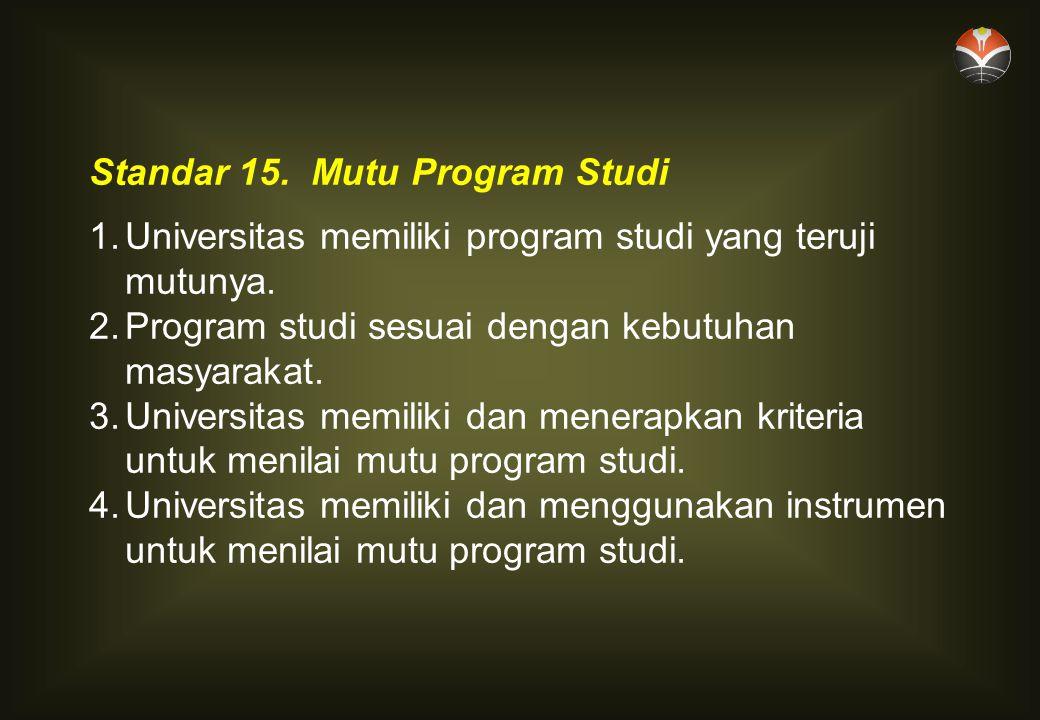 Standar 15.Mutu Program Studi 1.Universitas memiliki program studi yang teruji mutunya.