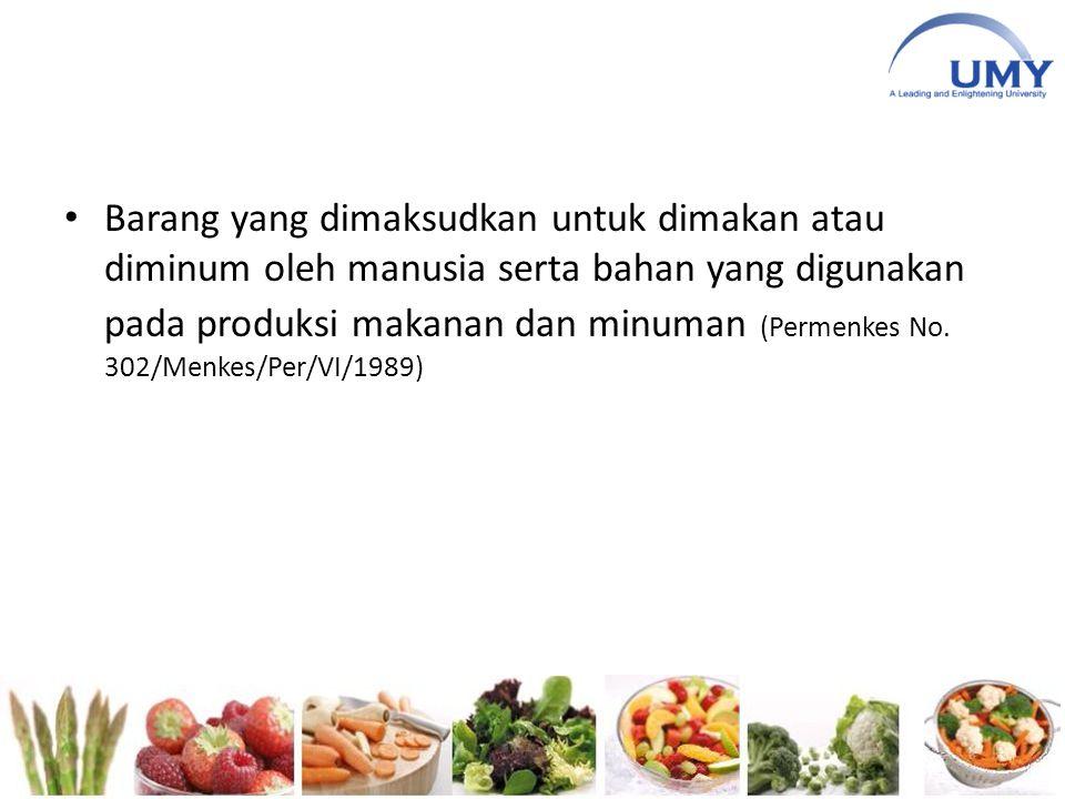 Barang yang dimaksudkan untuk dimakan atau diminum oleh manusia serta bahan yang digunakan pada produksi makanan dan minuman (Permenkes No. 302/Menkes
