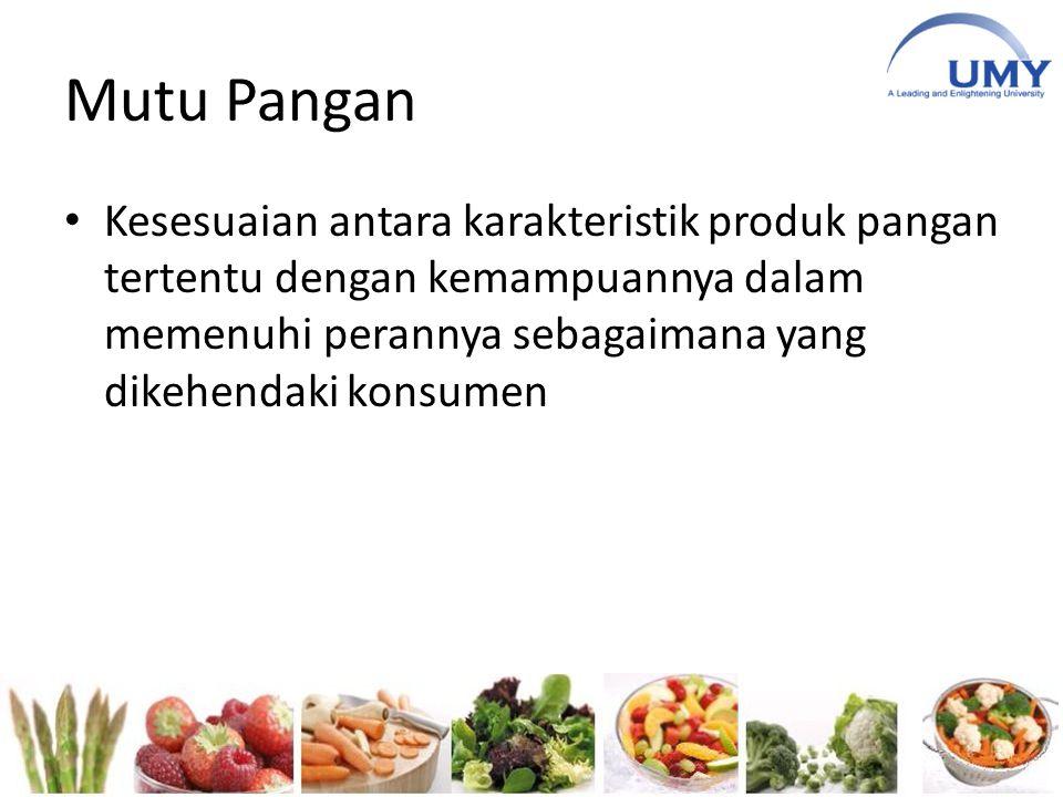 Mutu Pangan Kesesuaian antara karakteristik produk pangan tertentu dengan kemampuannya dalam memenuhi perannya sebagaimana yang dikehendaki konsumen