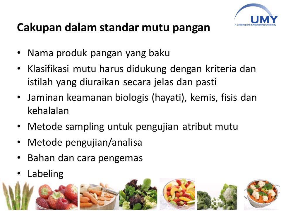 Cakupan dalam standar mutu pangan Nama produk pangan yang baku Klasifikasi mutu harus didukung dengan kriteria dan istilah yang diuraikan secara jelas