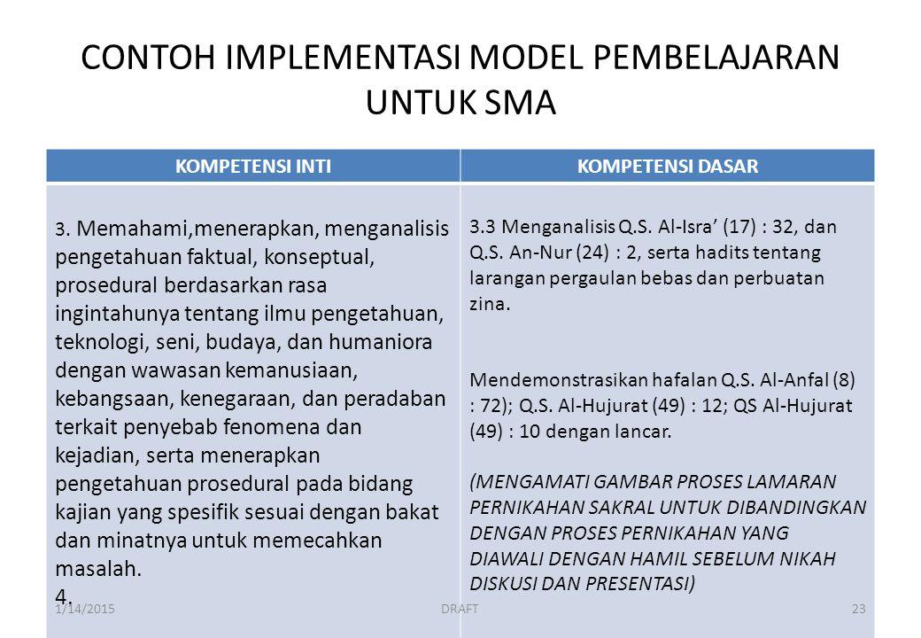 CONTOH IMPLEMENTASI MODEL PEMBELAJARAN UNTUK SMA KOMPETENSI INTIKOMPETENSI DASAR 3.