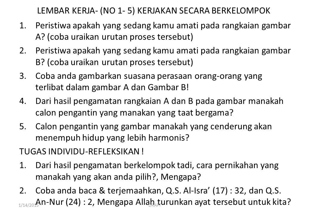 LEMBAR KERJA- (NO 1- 5) KERJAKAN SECARA BERKELOMPOK 1.Peristiwa apakah yang sedang kamu amati pada rangkaian gambar A.