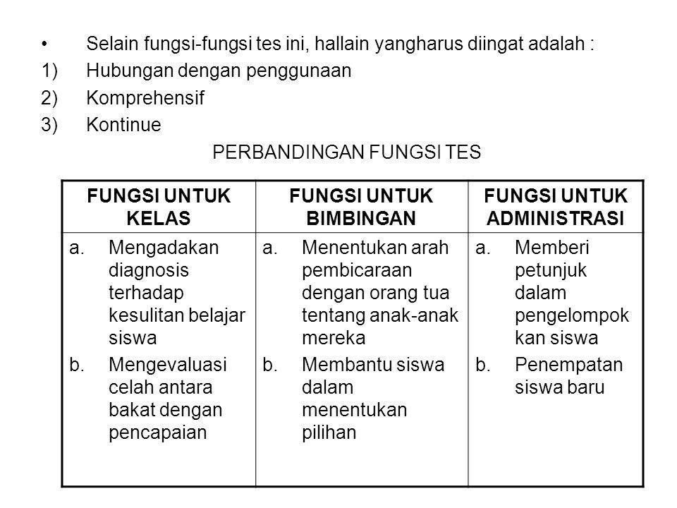 Selain fungsi-fungsi tes ini, hallain yangharus diingat adalah : 1)Hubungan dengan penggunaan 2)Komprehensif 3)Kontinue PERBANDINGAN FUNGSI TES FUNGSI