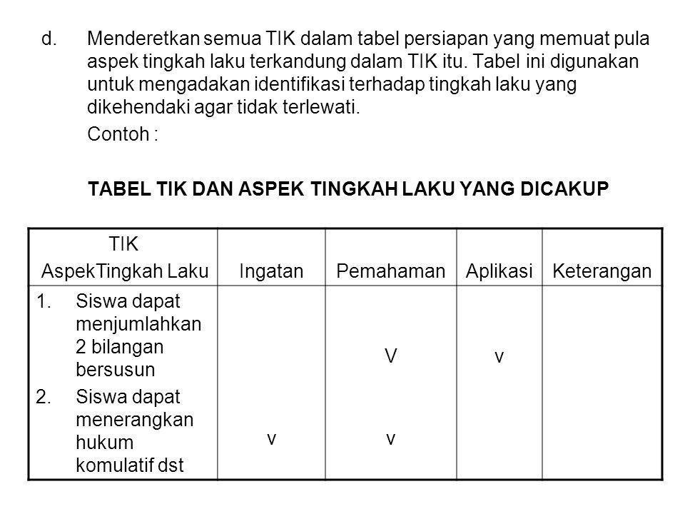d.Menderetkan semua TIK dalam tabel persiapan yang memuat pula aspek tingkah laku terkandung dalam TIK itu. Tabel ini digunakan untuk mengadakan ident