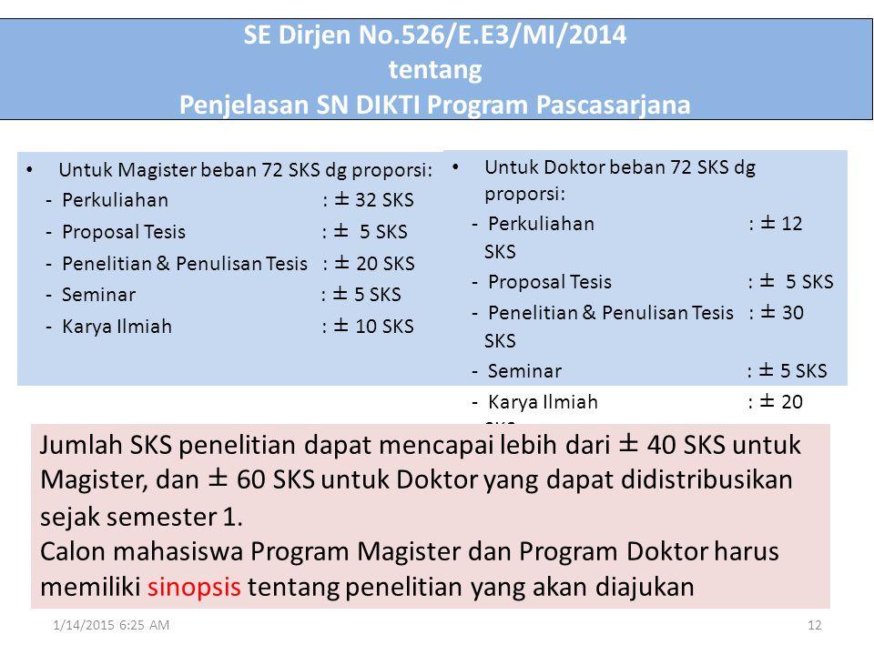 SE Dirjen No.526/E.E3/MI/2014 tentang Penjelasan SN DIKTI Program Pascasarjana Untuk Doktor beban 72 SKS dg proporsi: - Perkuliahan : ± 12 SKS - Propo
