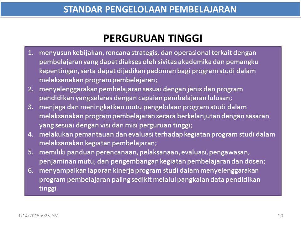 1/14/2015 6:27 AM20 STANDAR PENGELOLAAN PEMBELAJARAN 1.menyusun kebijakan, rencana strategis, dan operasional terkait dengan pembelajaran yang dapat d