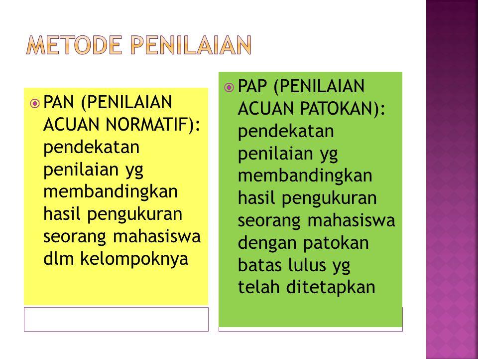  PAN (PENILAIAN ACUAN NORMATIF): pendekatan penilaian yg membandingkan hasil pengukuran seorang mahasiswa dlm kelompoknya  PAP (PENILAIAN ACUAN PATO