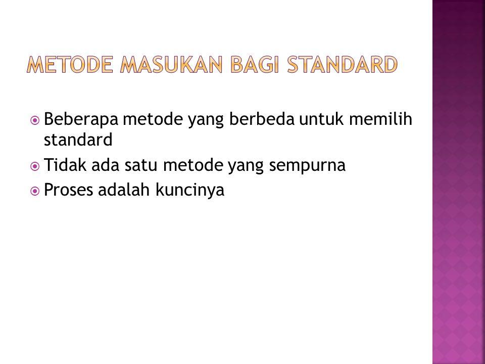  Beberapa metode yang berbeda untuk memilih standard  Tidak ada satu metode yang sempurna  Proses adalah kuncinya