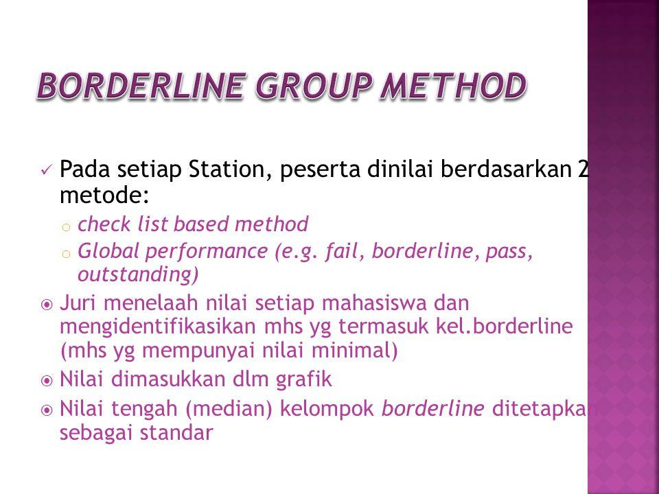 Pada setiap Station, peserta dinilai berdasarkan 2 metode: o check list based method o Global performance (e.g. fail, borderline, pass, outstanding) 