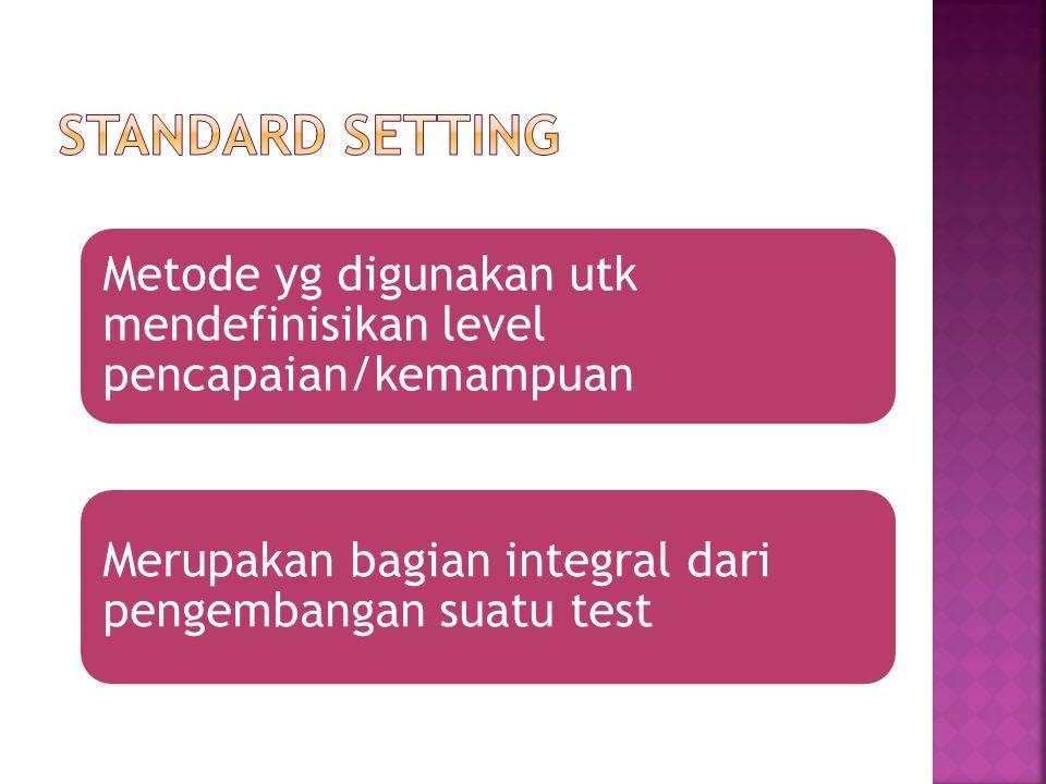 Metode yg digunakan utk mendefinisikan level pencapaian/kemampuan Merupakan bagian integral dari pengembangan suatu test