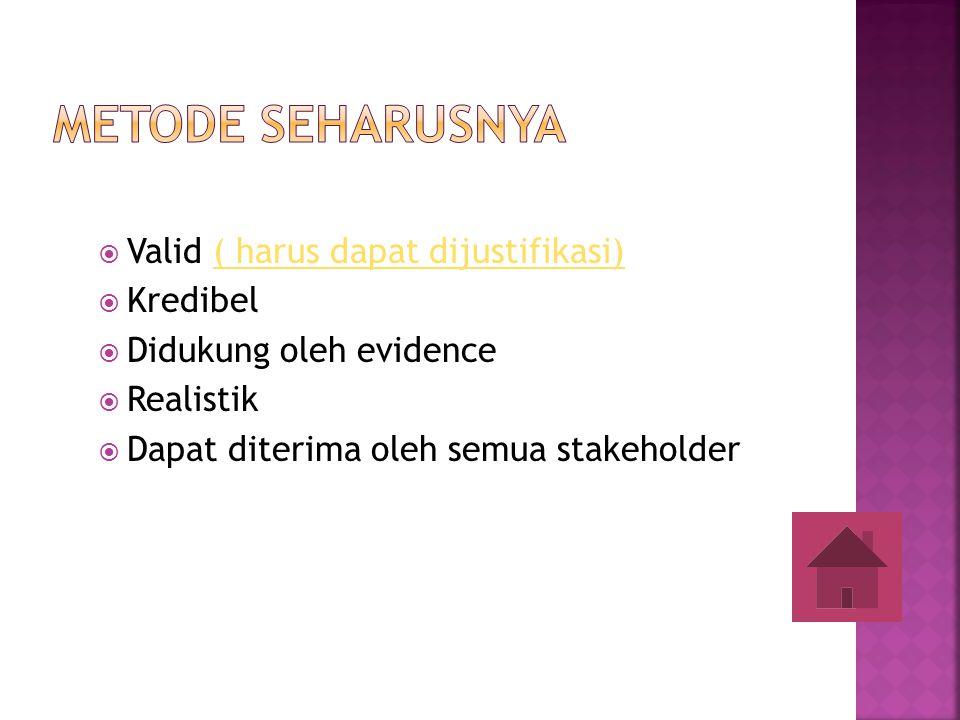  Valid ( harus dapat dijustifikasi)( harus dapat dijustifikasi)  Kredibel  Didukung oleh evidence  Realistik  Dapat diterima oleh semua stakehold