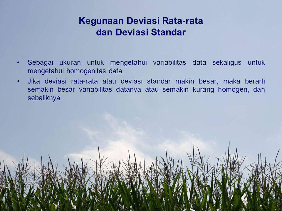 Kegunaan Deviasi Rata-rata dan Deviasi Standar Sebagai ukuran untuk mengetahui variabilitas data sekaligus untuk mengetahui homogenitas data. Jika dev