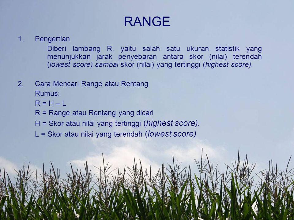 RANGE 1.Pengertian Diberi lambang R, yaitu salah satu ukuran statistik yang menunjukkan jarak penyebaran antara skor (nilai) terendah (lowest score) s