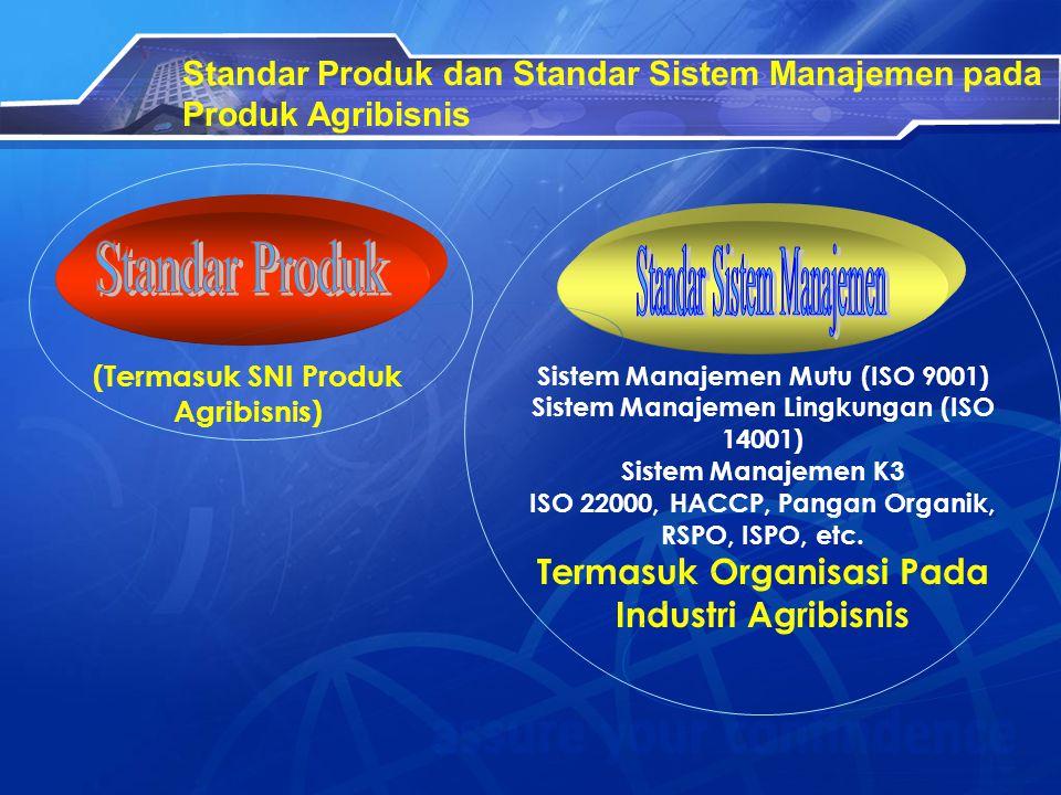 Standar Produk dan Standar Sistem Manajemen pada Produk Agribisnis (Termasuk SNI Produk Agribisnis) Sistem Manajemen Mutu (ISO 9001) Sistem Manajemen