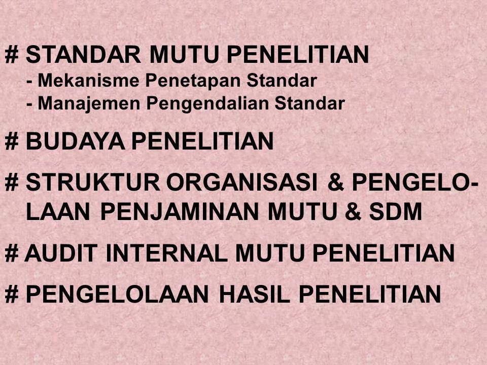 # STANDAR MUTU PENELITIAN - Mekanisme Penetapan Standar - Manajemen Pengendalian Standar # BUDAYA PENELITIAN # STRUKTUR ORGANISASI & PENGELO- LAAN PENJAMINAN MUTU & SDM # AUDIT INTERNAL MUTU PENELITIAN # PENGELOLAAN HASIL PENELITIAN