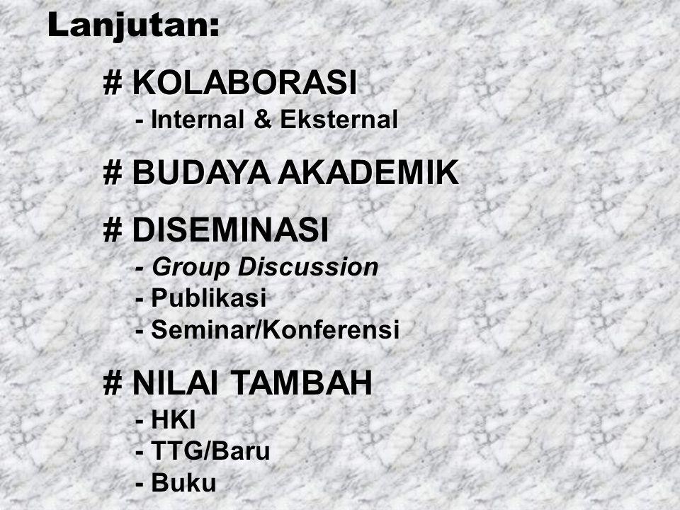 Lanjutan: # KOLABORASI # KOLABORASI - Internal & Eksternal - Internal & Eksternal # BUDAYA AKADEMIK # BUDAYA AKADEMIK # DISEMINASI - Group Discussion - Publikasi - Seminar/Konferensi # NILAI TAMBAH - HKI - TTG/Baru - Buku