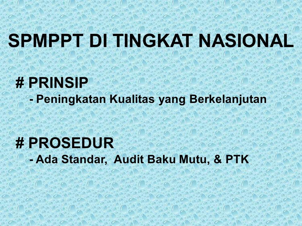 SPMPPT DI TINGKAT NASIONAL # PRINSIP - Peningkatan Kualitas yang Berkelanjutan # PROSEDUR - Ada Standar, Audit Baku Mutu, & PTK