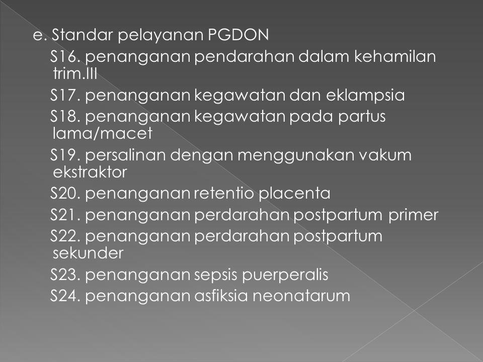 e. Standar pelayanan PGDON S16. penanganan pendarahan dalam kehamilan trim.III S17.