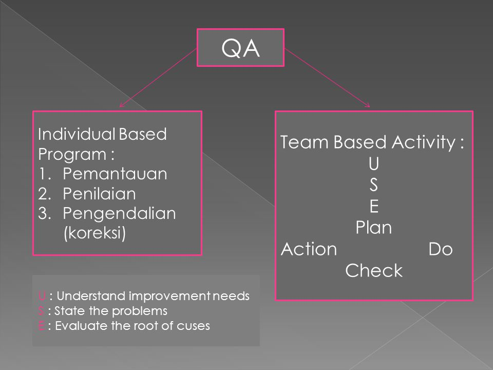 QA Individual Based Program : 1.Pemantauan 2.Penilaian 3.Pengendalian (koreksi) Team Based Activity : U S E Plan Action Do Check U : Understand improvement needs S : State the problems E : Evaluate the root of cuses