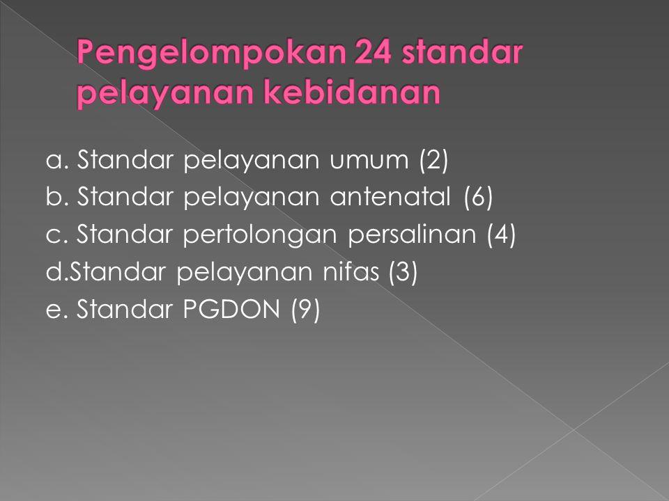 a. Standar pelayanan umum (2) b. Standar pelayanan antenatal (6) c.