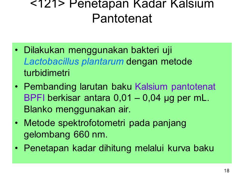 18 Penetapan Kadar Kalsium Pantotenat Dilakukan menggunakan bakteri uji Lactobacillus plantarum dengan metode turbidimetri Pembanding larutan baku Kal