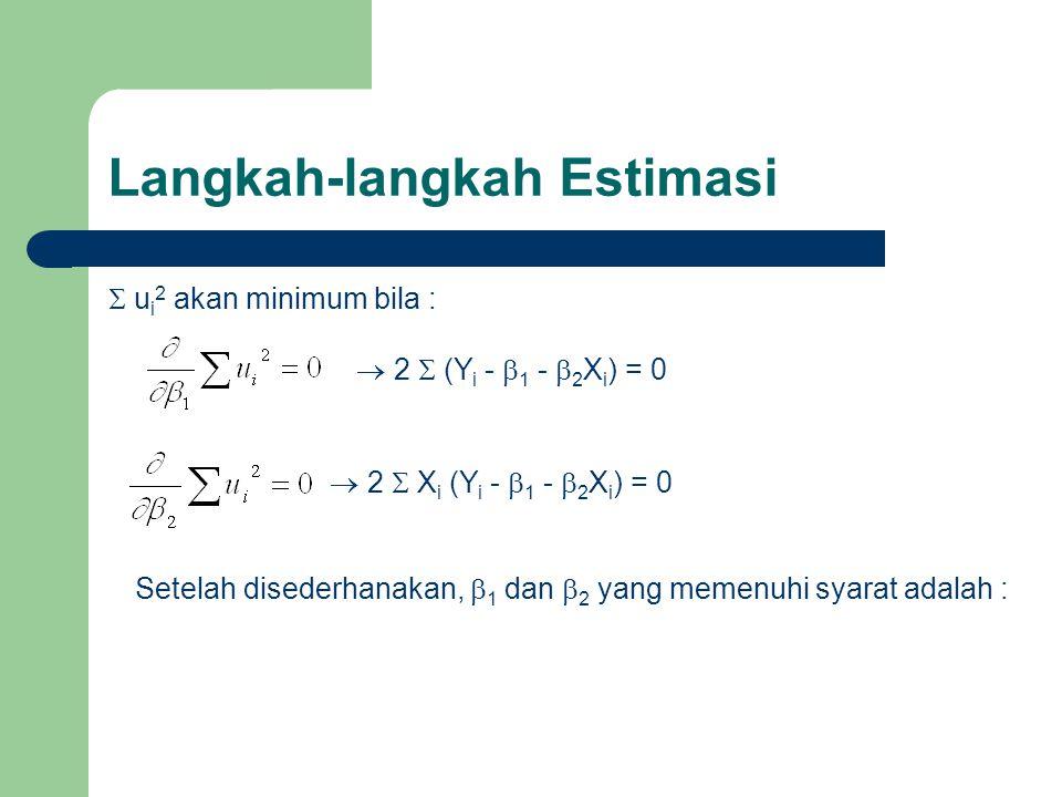 Langkah-langkah Estimasi  u i 2 akan minimum bila :  2  (Y i -  1 -  2 X i ) = 0  2  X i (Y i -  1 -  2 X i ) = 0 Setelah disederhanakan,  1
