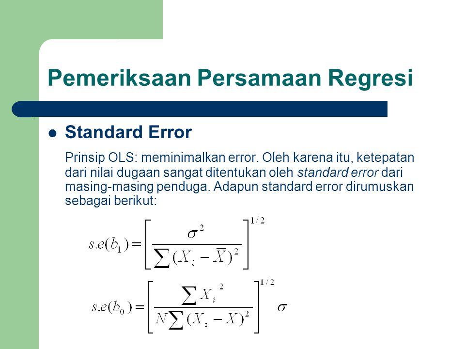 Pemeriksaan Persamaan Regresi Standard Error Prinsip OLS: meminimalkan error. Oleh karena itu, ketepatan dari nilai dugaan sangat ditentukan oleh stan