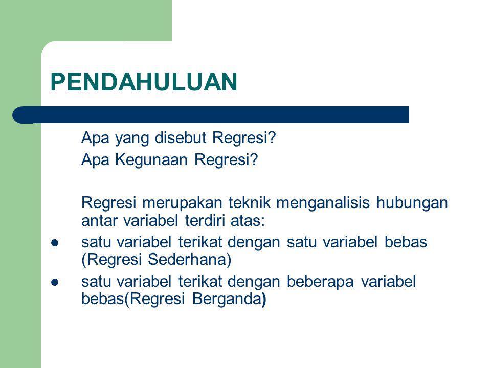 PENDAHULUAN Apa yang disebut Regresi? Apa Kegunaan Regresi? Regresi merupakan teknik menganalisis hubungan antar variabel terdiri atas: satu variabel