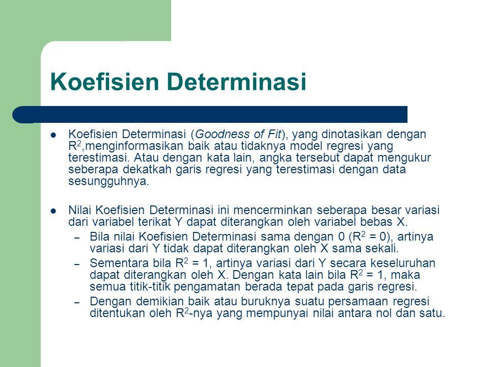 Koefisien Determinasi Koefisien Determinasi (Goodness of Fit), yang dinotasikan dengan R 2,menginformasikan baik atau tidaknya model regresi yang tere