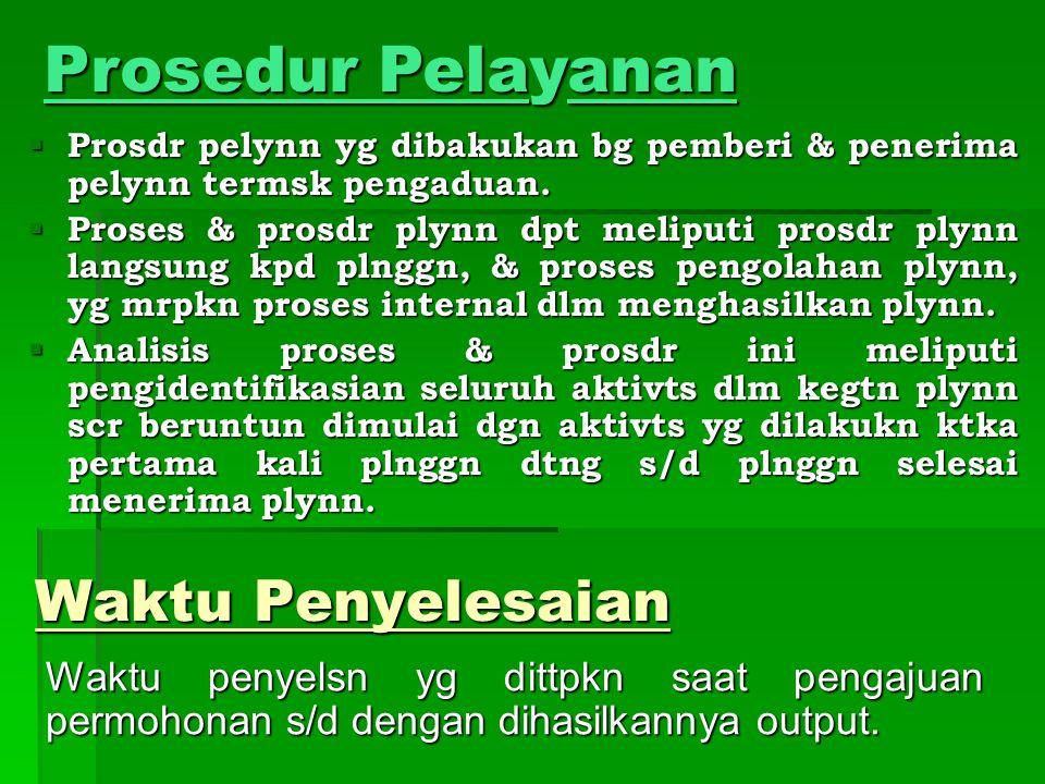 Prosedur Pelayanan  Prosdr pelynn yg dibakukan bg pemberi & penerima pelynn termsk pengaduan.