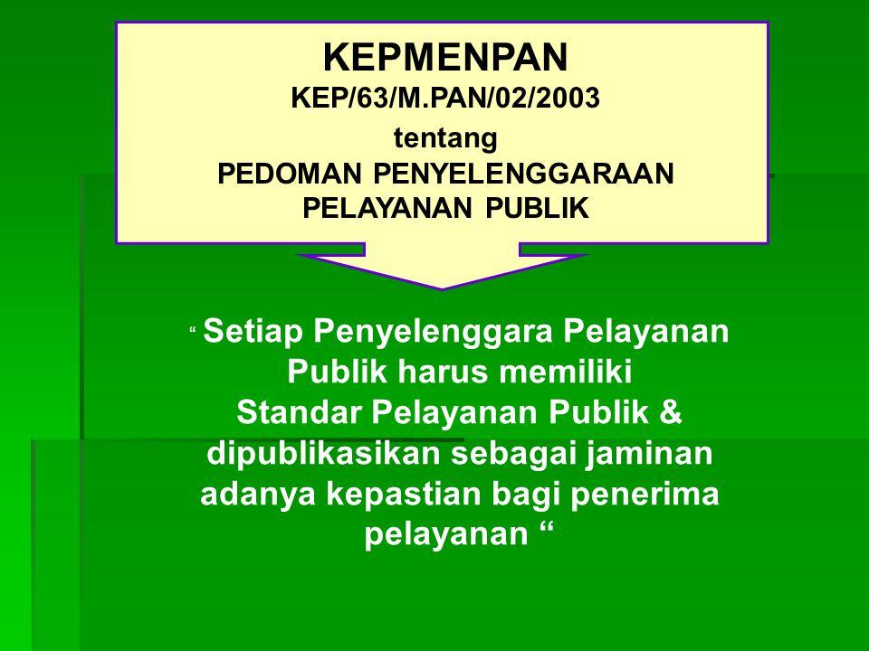 Setiap Penyelenggara Pelayanan Publik harus memiliki Standar Pelayanan Publik & dipublikasikan sebagai jaminan adanya kepastian bagi penerima pelayanan KEPMENPAN KEP/63/M.PAN/02/2003 tentang PEDOMAN PENYELENGGARAAN PELAYANAN PUBLIK