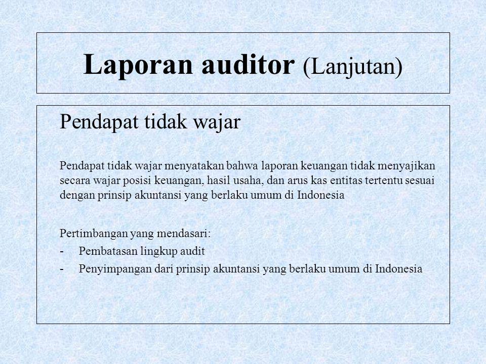 Laporan auditor (Lanjutan) Pendapat tidak wajar Pendapat tidak wajar menyatakan bahwa laporan keuangan tidak menyajikan secara wajar posisi keuangan,
